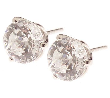 Diamonique 100 Facet 3 Ct Tw Stud Earrings 14k White Gold Qvc