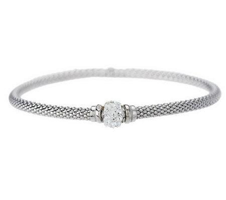 Killarney Crystal Sterling Silver Stretch Mesh Bracelet