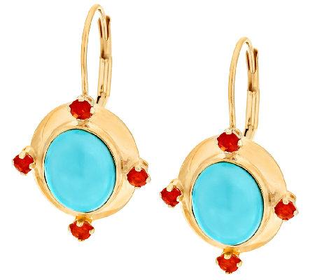 Sleeping Beauty Turquoise Fire Opal Leverback Earrings