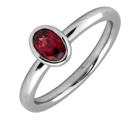 Simply Stacks Sterling & Oval Created-Ruby Ring