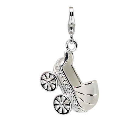 Amore La Vita Sterling Dimensional BabyCarriageCharm