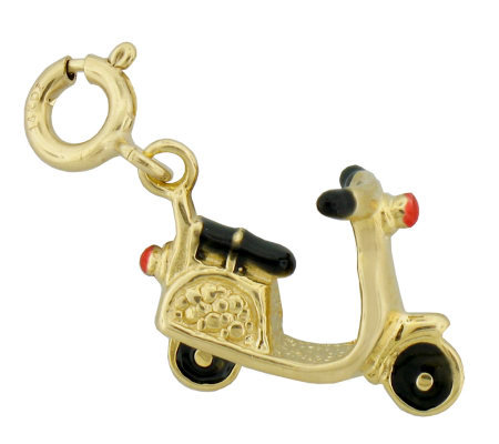 Red and Black Enamel Scooter Charm, 14K Gold