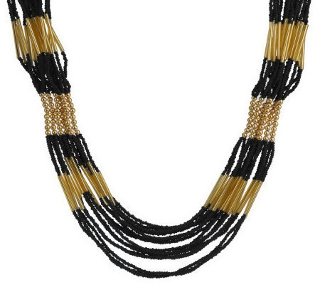 Multi-Strand Seed Bead Goldtone Necklace by Garold Miller