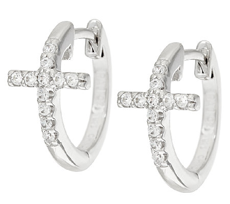 Diamonique Cross Hoop Earrings Platinum Clad