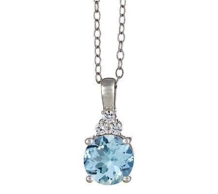 Premier Round Aquamarine And 1 10cttw Diamond Pendant 14k