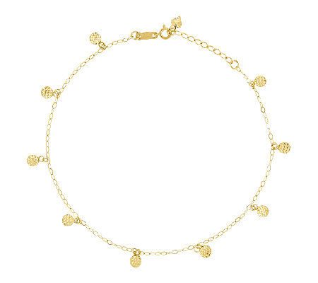 10 Diamond Cut Circle Station Ankle Bracelet 14k Gold