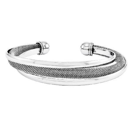 Stainless Steel Polished Mesh Twist Cuff Bracelet