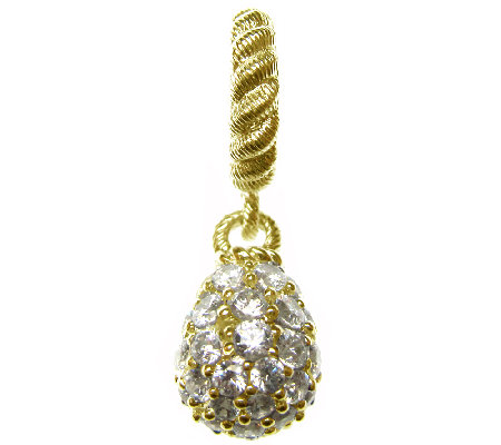 Judith Ripka Sterling 14K Clad Diamonique Teardrop Charm