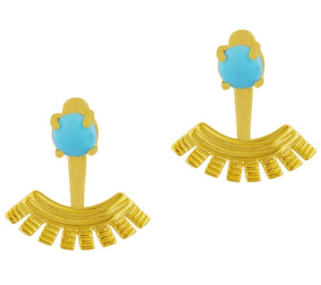 Sterling Turquoise Sunburst Earring Jackets