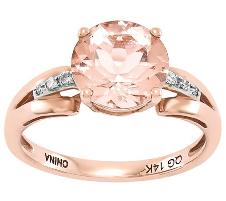 Round Morganite and Diamond Accent Ring, 14K Rose Gold