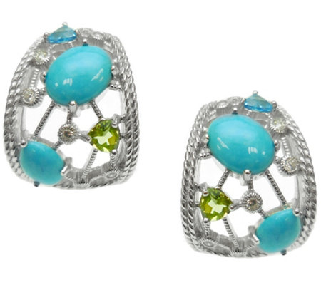 Judith Ripka Sterling & Multi-Gemstone Hoop Earrings