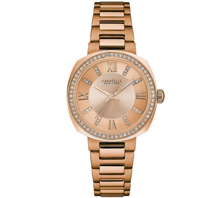 Caravelle New York Women's Rosetone Watch w/ Crystal Accents