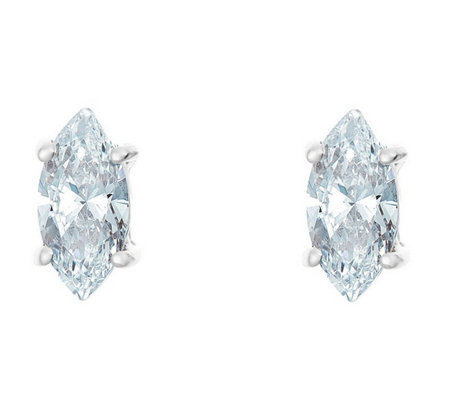 Marquise Diamond Earrings, 14KWhite Gold, 3/4cttw, by Affinity