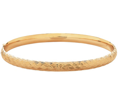 "EternaGold 8"" Cross Stitch Bangle Bracelet, 14KGold, 7.7g"