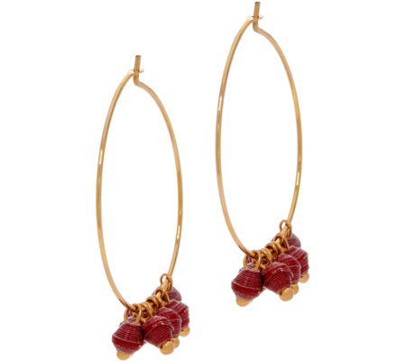 31 Bits Goldtone Melah Hoop Earrings with Dangling Beads