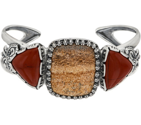 American West Quartzite & Red Jasper Sterling Silver Cuff