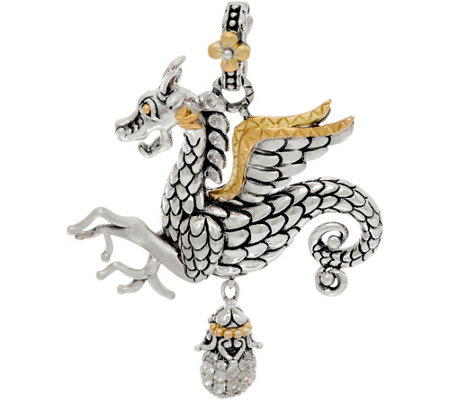 Barbara Bixby Sterling & 18K Dragon Enhancer with Pave White Topaz Drop