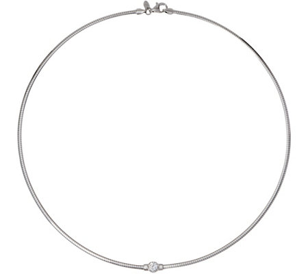 Diamonique Bezel Set Omega Necklace, Sterling or 14K Clad