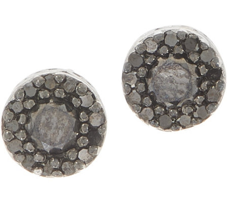 Black Diamond Stud Earrings, Sterling, 1/2 cttw, by Affinity