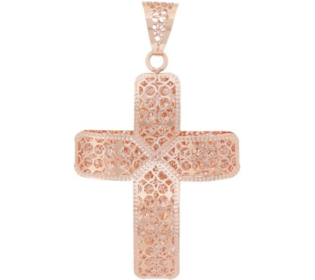 Italian gold cross pendant 14k rose gold page 1 qvc italian gold cross pendant 14k rose gold aloadofball Choice Image
