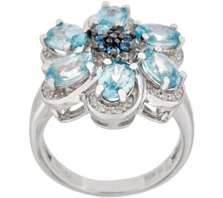 Six Petal Flower Statement Ring, Sterling Silver