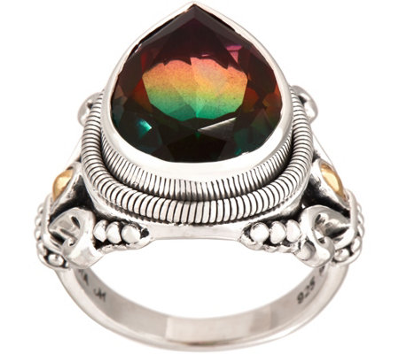 Artisan Crafted Sterling Silver Watermelon Quartz Triplet Ring
