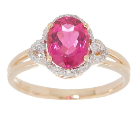 Oval Rubellite and Diamond Ring, 1.75 cttw, 14K
