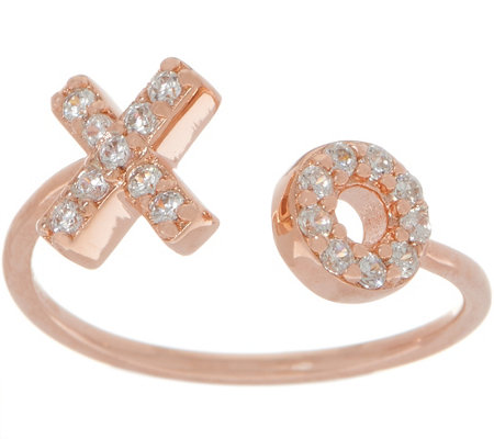 Diamonique Adjustable Motif Ring, 18K Rose Gold Plated