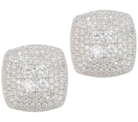 Affinity Diamond Cushion Pave' 3/4 cttw Stud Earrings, Sterling Silver