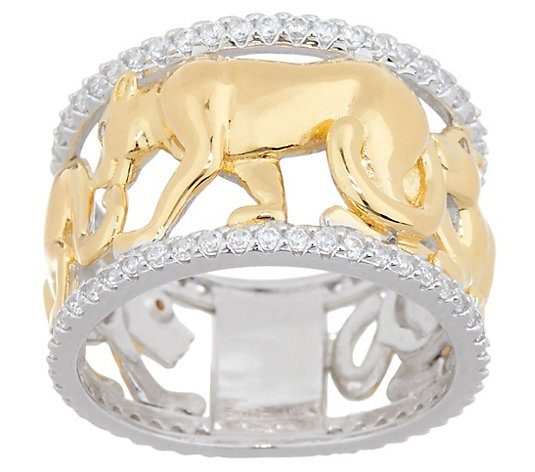 TOVA Diamonique Two-Tone Panther Band Ring, Sterling Silver