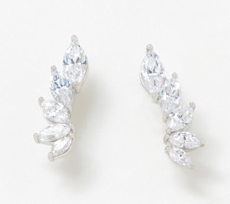 Diamonique Marquise Ear Climber Earrings Sterling Silver