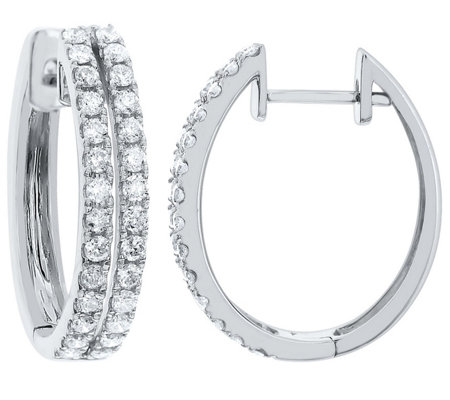Hinged Diamond Hoop Earrings, 14K Gold, 1.00 cttw, by Affinit