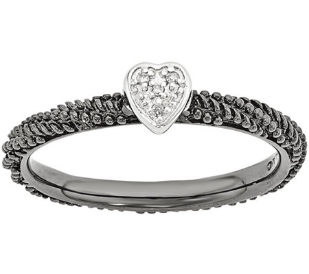 Simply Stacks Sterling Diamond Accent Heart-Shaped Ring