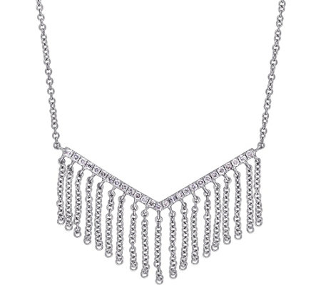 Affinity 1/5 cttw Fringe Diamond Necklace, 14K White Gold