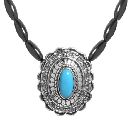 American West Sterling Turquoise Black Agate Necklace
