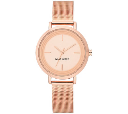 Nine West Women's Rosetone Mesh Bracelet Watch