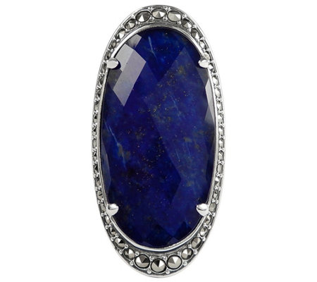 Suspicion Sterling Oval Lapis Doublet & Marcasite Halo Ring
