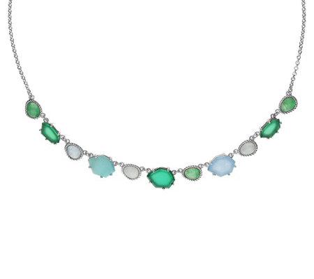 "Judith Ripka Sterling Multi-Gemstone Station 18"" Necklace"