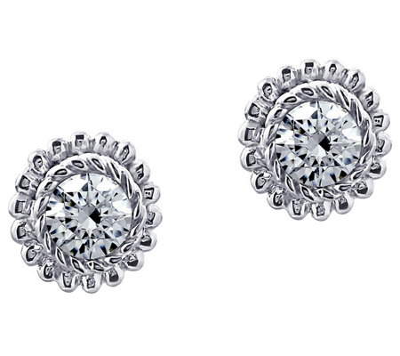 Judith Ripka Sterling Diamonique Round Stud Earrings