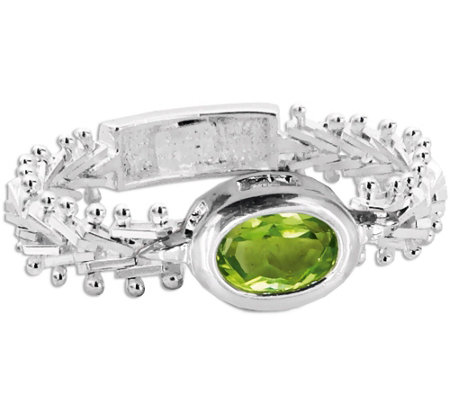 Imperial Silver Peridot Wheat Gemstone Ring