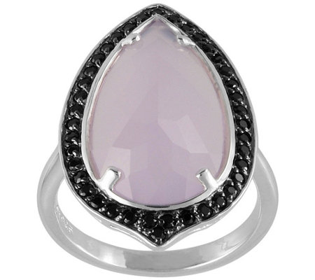 Sterling Lavender Chalcedony Black Spinel Ring