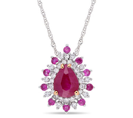 Bellini 14K Gold 1.60 cttw Gemstone & 1/4 cttw Diamond Pendant