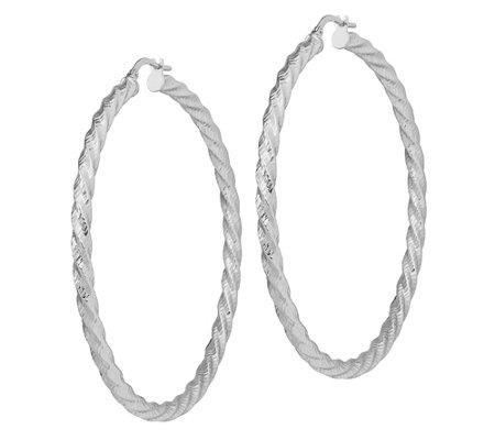 Italian Gold Twist Large Hoop Earrings 14k Qvc