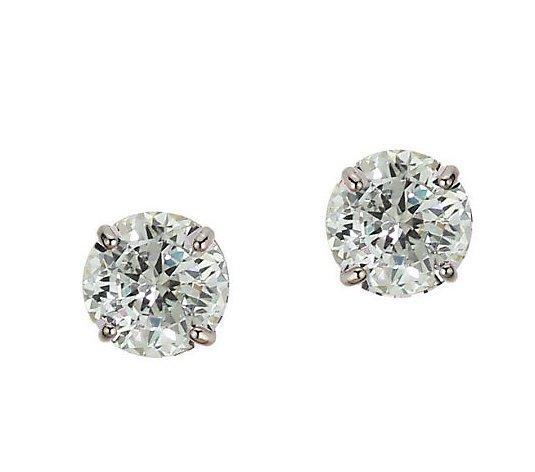 Diamonique 1 50 Ct Tw 100 Facet Stud Earrings 14k Gold Qvc Com