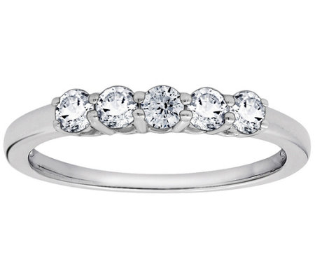 Diamonique 5 Stone 100-Facet Anniversary Ring,Platinum Clad