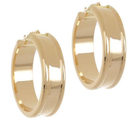 Eternagold Bold Cigar Band Hoop Earrings 14k Gold