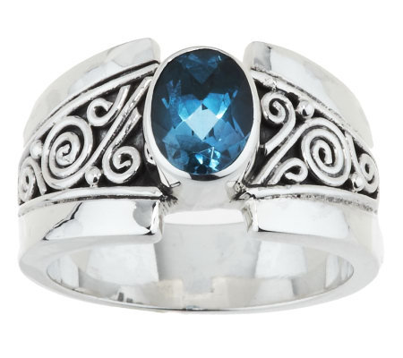Artisan Crafted Sterling 1.00 ct London Blue Topaz Ring