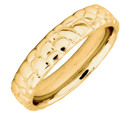 Simply Stacks Sterling 18K YellowGold-Plated Cobble 4.25mmRing