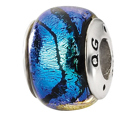 Prerogatives Sterling Dark Blue Dichroic GlassBead