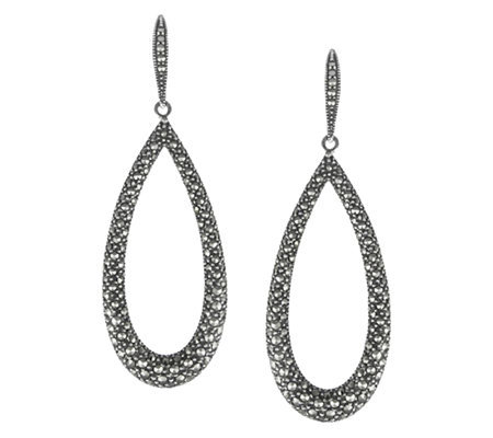 Suspicion Marcasite Open Teardrop Earrings, Sterling
